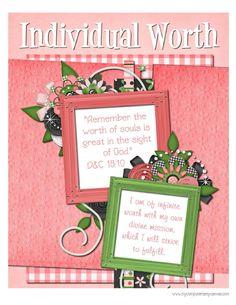 Activities centered around Individual Worth. Joseph Smith, Activity Days, Activity Centers, Lds Church, Church Ideas, Individual Worth, Young Women Values, Young Women Activities, C 18