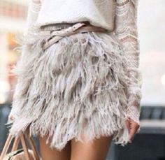 TOPSHOP-boutique-Rare-Mink-Ostrich-Feather-Mini-Skirt-sz-Uk-6-New