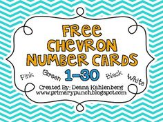free chevron number cards 1 - 30