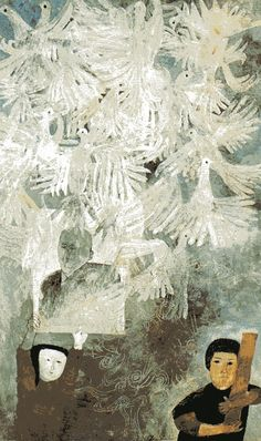 Ben Shahn, A Score of White Pigeons, 1960. Moderna Museet, Stockholm From a series of 10 paintings Shahn did on the fate of The Lucky Dragon, a Japanese fishing boat caught in the fallout from the atomic testing on the Bikini Atoll