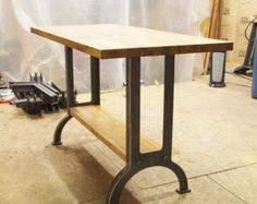 Industrial table kitchen island oak top metal machine base