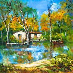 The Fishing Camp - Louisiana Swamp, Fishing, Camp, Cabin, Boat, Water, Louisiana Artist, New Orleans Art,Louisiana Art by New Orleans Artist