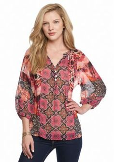 New Directions  Mixed Print Henley Blouse