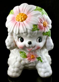 Vintage Baby Shower Planter Relpro 1950s Ceramic Baby Girl Planter White Poodle Pink Flower Made in Japan 5966
