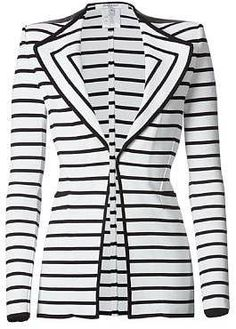 ON TREND - White/Black Striped Shoulder Pad Jacket  Givenchy