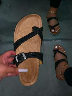 """SIZE Platform Height Approx: 1"""" True to Size Model wears a size 8.5 and is wearing a size 8.5 in this sandal. DETAILS Lightly Padded Insole Cork Platform w/ White Bottom Criss-Cross Toe Stopper Slip-On Entry Black Rhinestone Embellished Straps (1) Buckle Detailed Strap Black Sandal Bling Sandals, Glitter Sandals, Cute Sandals, Brown Sandals, Cute Shoes, Flip Flop Sandals, Flat Sandals, Flip Flops, Flats"""