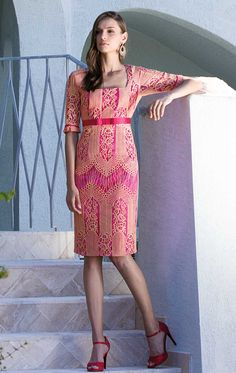 d0e68077dd08f 8662 - Michaela Louisa 8662 Pink lace dress with sleeves - Occasion Dresses