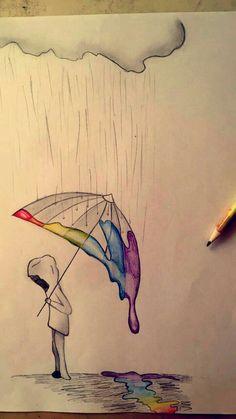 Rainbow Rain - # Rain # Rainbow # Drawing - Best pins - Drawing Still 2020 Sad Drawings, Cool Art Drawings, Pencil Art Drawings, Art Drawings Sketches, Beautiful Drawings, Animal Drawings, Drawing Animals, Disney Drawings, Drawing Ideas
