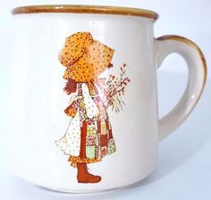 Vintage Holly Hobbie 1978 8 Ounce Coffee Cup Mug Ceramic WWA Korea Tan Brown #CoffeeCupMug