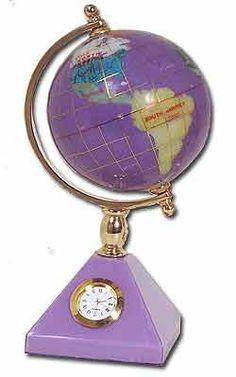 GLOBE~PURPLE CLOCK GLOBE.