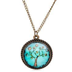 El árbol de la vida cabujón patrón tallada colgante de collar de cadena de bronce código(951512)
