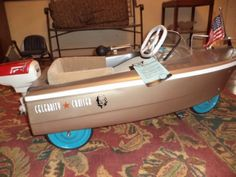 """1960's Vintage Murray pedal boat """"Jolly Roger"""" complete professional restoration all painted no decals!working motor/bow light battery operated~~"""