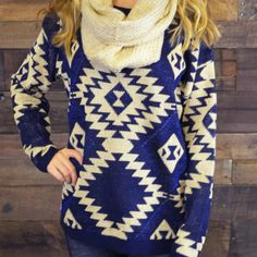 Vermont Breeze Navy Aztec Pullover Sweater on Wanelo