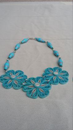 Collar de turquesa quilling collar de papel por HandmadeByMiky
