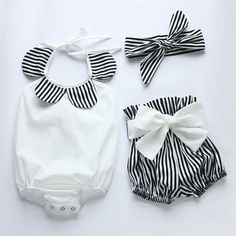 Black and White Stripe  Baby Toddler Summer by AngelsbabyBikini