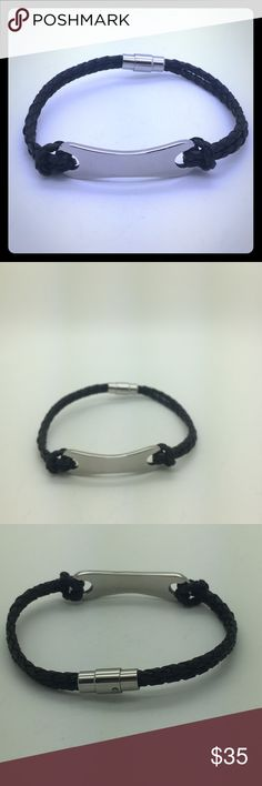 Unisex stainless steel bangle Stainless steel and black leather is bangle Accessories Jewelry