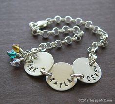 Custom Bracelet - Personalized Sterling Silver Hand Stamped Charm Jewelry - Connect Trio with Birhtstones or Pearl in Rolo Chain