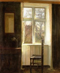 Carl Vilhelm Holsøe (1863-1935), Ventana abierta. Óleo sobre lienzo, 60.8 x 73 cm, Colección particular.