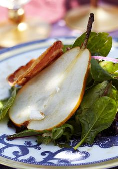 Pear, Pancetta, and Feta Salad with Pomegranate Molasses Dressing is a delightful start to a summer dinner. - Traditional Home ®/ Photo: Colleen Duffley