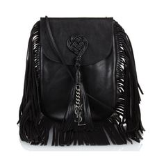Saint Laurent Anita fringed leather shoulder bag (€1.000) ❤ liked on Polyvore featuring bags, handbags, shoulder bags, black, leather purse, genuine leather shoulder bag, leather handbags, fringe purse and shoulder handbags