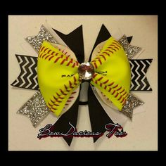 This Softball hair bow is perfect for the softball lover in your life. This bow is made with a REAL neon yellow softball backed with high quality Softball Gear, Softball Party, Softball Crafts, Softball Bows, Girls Softball, Cheer Bows, Softball Things, Softball Stuff, Softball Headbands