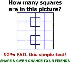 Recently saw this math question picture share on the social media. It is a tricky question that has appeared often in mathematical quiz or IQ test math book. Can you find the number of squares? Tricky Questions, Math Questions, This Or That Questions, Funny Puzzles, Maths Puzzles, Maths Fun, Jokes And Riddles, Math Jokes, Kid Jokes
