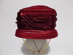 Helen's Hats Burgundy Cloche Hat Israel Bucket Organza Ribbon Dressy Church #HelensHats #Cloche #DressyChurch
