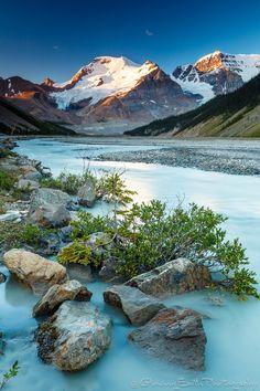 Mount Athabasca, Alberta - Sunwapta River in Jasper National Park, Alberta