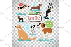 Cartoon dogs on transparent background. Pet Icons
