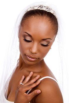 Very soft smokey eye makeup for bride wedding day African American