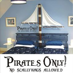 Pirates Only Vinyl Wall Art Decal Sticker - Pirate Decor Kids Room Nursery