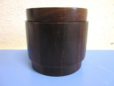 Jean Gillon Jacaranda rosewood rare lidded box canister mid-century design
