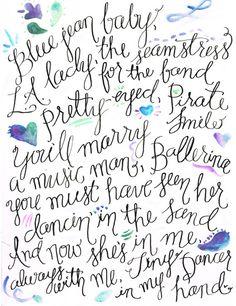 Tiny Dancer Lyrics Calligraphy & Watercolor Digital Fine Art Print 8x10