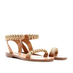 FLAT LEATHER SANDALS WITH BRAIDED STRAPS seen @ www.mytheresa.com