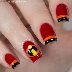 Disney Pixar Incredibles Nails NailsByErin Nail Designs in incredibles 2 nail art - Nail Art Nail Art Designs, Disney Nail Designs, Nails Design, Cure Nails, My Nails, Nail Manicure, Pedicure, Nailart Glitter, Disneyland Nails