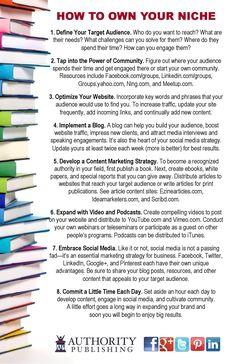 """""""How to Own Your Niche"""" -- ideas on how to become recognized as an expert within your niche. From Authority Publishing (authoritypublishing.com)"""