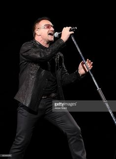 Musician Bono of the band U2 performs on stage at the Rose Bowl on October 25, 2009 in Pasadena, California.