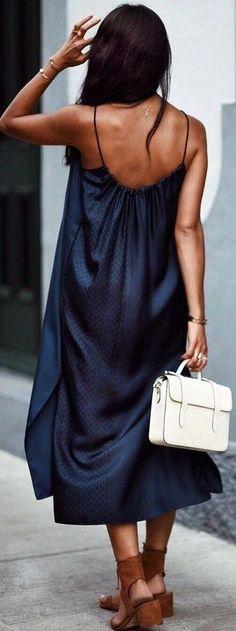 #summer #trending #outfits | Navy Maxi Slip Dress + Tan