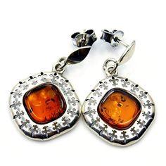 'Fleur-de-lis' Sterling Silver Natural Baltic Amber Dangle Earrings  Price : $47.95 http://www.silverplazajewelry.com/Fleur--Sterling-Silver-Natural-Earrings/dp/B00J1VGQ48
