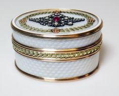 Rare Russian Gold & Diamond Enamel Pill Box