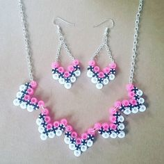 Necklace and earrings hama beads by handmadelovealex