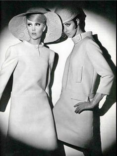 1966 Penny Ashton in ivory wool dress by Lanvin and Maggi Eckardt in wool dress by Guy Laroche, photo by Jean Louis Guégan