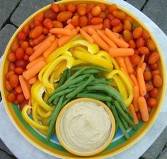 Easy rainbow veggie tray - and other birthday party tips.
