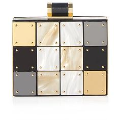 Halston Heritage Novelty Metal Box Minaudiere ($495) ❤ liked on Polyvore featuring bags, handbags, clutches, white purse, chain handle handbags, square purse, minaudiere purse and white handbags