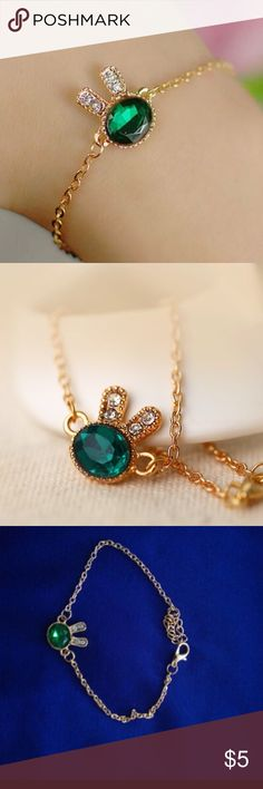 NEW Crystal bracelet sea green rabbit BRAND NEW Bracelets StyleTrendy Setting TypeTension Setting MaterialCrystal Chain TypeSnake Chain Length6.6 inches*5cm extended chain Clasp TypeLobster-claw-clasps Metals TypeZinc Alloy Shape\patternAnimal Jewelry Bracelets