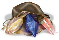 Dragonshards are translucent stones with pulsating veins of color within them. They can be found in various parts of Eberron, and come in three distinct varieties, varying in color, location, and uses. Dragonshards are used to enhance the powers of a Dragonmark, or in the creation of magic items, artifacts, or constructs. Dragonshards are important to many of the magic technologies used throughout the Five Nations. Siberys dragonshards are golden in color and fall from the Ring of Siberys...