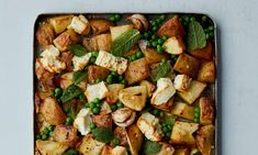 Frozen peas are a hero ingredient in winter: try them in this potato and feta traybake and a speedy coconut soup Tray Bake Recipes, Potato Recipes, Veggie Recipes, Beef Recipes, Vegetarian Recipes, Recipies, Vegetarian Dinners, Vegetarian Cooking, Low Fat Vegan Recipes