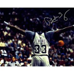Patrick Ewing Signed Georgetown Arms Out Facing Crowd 8x10 Photo
