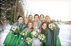 green bridesmaids dresses, green wedding ideas