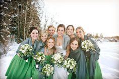 green bridesmaids dresses, green wedding ideas